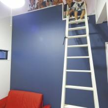 一面だけ壁の色を変えた子ども部屋にもロフトを配置。友だちとの時間も一層楽しくなる。