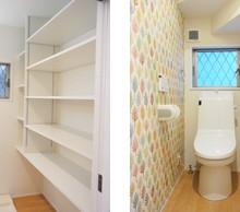 洗面の棚はモデルハウスと同じに。 横面のトイレ壁紙は可愛くなりました。