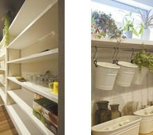 キッチンの奥は、収納力たっぷりのパントリー。回避できるつくりは使い勝手もいい。