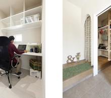 寝室から続く書斎も白で統一。玄関横のシューズクロークは収納量たっぷり。