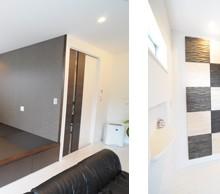 外観の形をそのまま利用した畳コーナー。段差をつけることでベンチにもなり、落ち着ける空間に。縁なしのカラー畳を採用する事により、デザイン性の高いリビング空間と雰囲気もばっちり。 玄関ホールは調湿効果もある木の羽目板を交互に設置。ちょっとしたアクセントでデザイン性もましています。