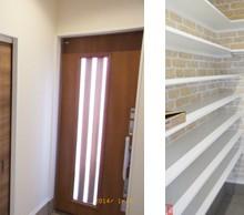 玄関・シューズクロークはレンガ調で可愛く。 収納もいっぱいで便利です。
